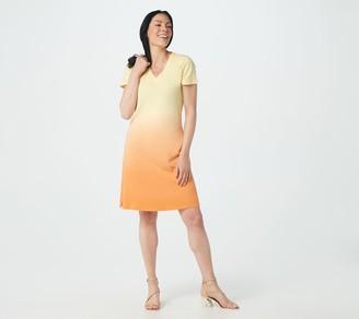 Isaac Mizrahi Live! Ombre V-Neck T-Shirt Dress