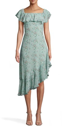 Nicole Miller Flower Dust Asymmetrical Flutter Sleeve Dress