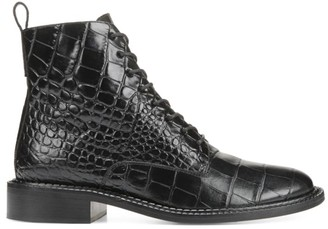 Vince Cabria Crocodile-Embossed Leather Combat Boots