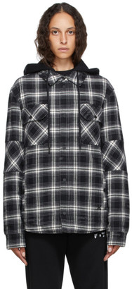 Off-White Black and White Flannel Hoodie Jacket