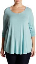 Hip Long Sleeve Swing Knit Tee (Plus Size)
