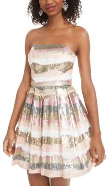 B. Darlin Juniors' Sequined Strapless Dress, Created for Macy's
