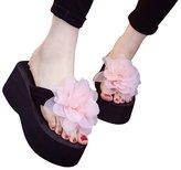 WeiYin Womens Plumeria Flower High Platform Wedge Flip Flop Thong Sandals US 4.5