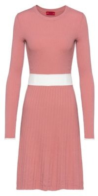 HUGO BOSS Slim Fit Knitted Dress With Contrast Waistband - Dark pink