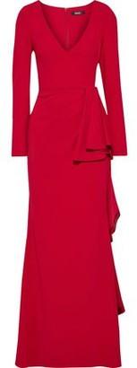 Badgley Mischka Draped Stretch-cady Gown