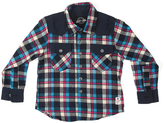 Something Strong Black & Blue Plaid Denim-Trim Button-Up - Toddler