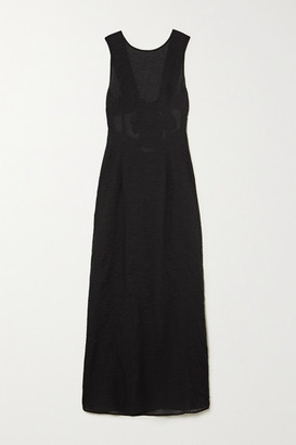 Marysia Swim Gargano Open-back Cotton-seersucker Maxi Dress - Black