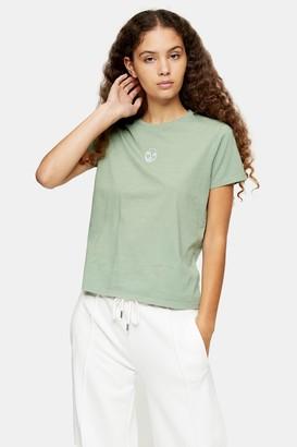 Topshop Womens Khaki Yin Yang Heart T-Shirt - Khaki