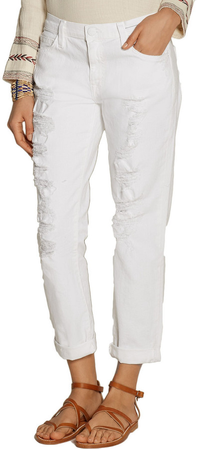 Thumbnail for your product : Current/Elliott The Fling Distressed Mid-rise Slim-leg Jeans