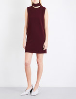 Theory Slit-collar crepe dress