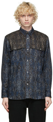 Clot Navy and Brown Snake Western Shirt