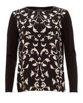Max Mara Weekend Womens Pleiadi Top, Floral Filigree Monochrome T-Shirt