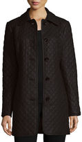 Neiman Marcus Quilted Long Leather Jacket, Plus Size