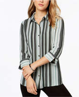 NY Collection Striped 3/4-Sleeve Shirt