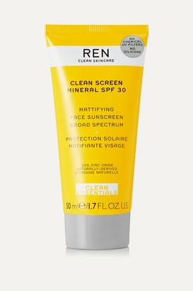 Ren Skincare Clean Screen Mineral Mattifying Face Sunscreen Spf30, 50ml - Colorless