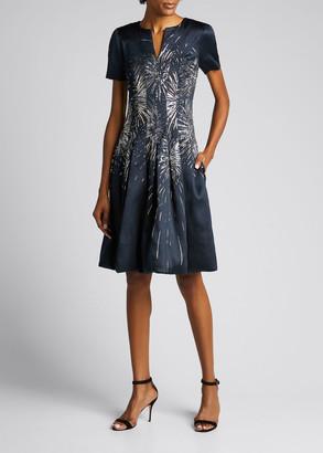Oscar de la Renta Embroidered Firework A-Line Dress