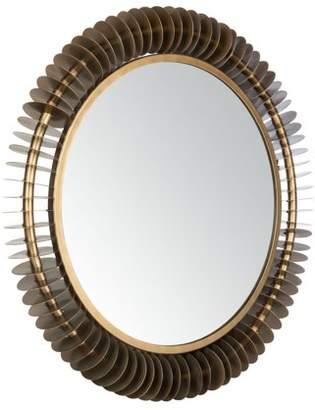 Safavieh Storm 30 in. Radiant Rings Round Mirror, Antique Brass