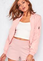 Missy Empire Moya Pastel Pink Bomber Jacket