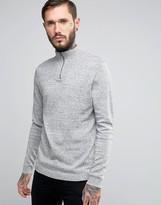 Asos Zip Up Funnel Neck Sweater in Gray Slub Cotton