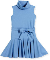 Helena Sleeveless Fit-and-Flare Turtleneck Dress, Blue, Size 4-6