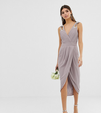 TFNC bridesmaid exclusive wrap midi dress with embellished shoulder in gray