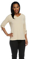 As Is Susan Graver Liquid Knit V-Neck Top w/ 3/4 Roll Tab Sleeves