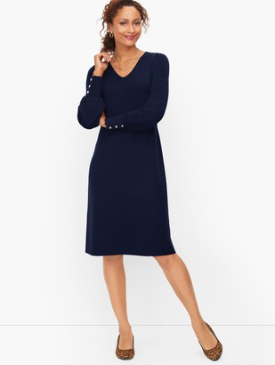 Talbots Soft Merino V-Neck Sweater Dress
