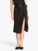 Halston Faux Wrap Satin Back Crepe Skirt