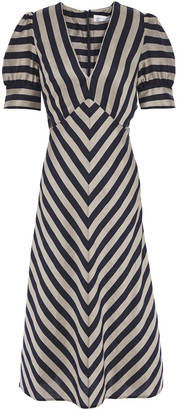 Rebecca Vallance Striped Woven Midi Dress