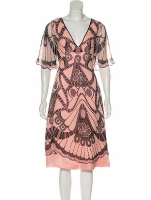 Temperley London Silk Geometric Print Dress Pink