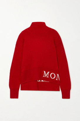 Moncler Intarsia Wool And Cashmere-blend Turtleneck Sweater - Red