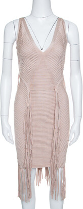Herve Leger Beige Fringed Sleeveless Bandage Dress S