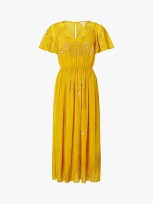 Monsoon Dana Floral Embellished Midi Dress, Yellow