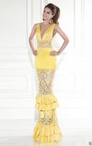 Tarik Ediz V Neckline Tiered Lace Gown 92589