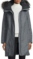 Post Card Hooded Wool Fur-Trim Parka, Charcoal