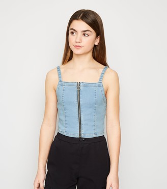 New Look Girls Denim Zip Front Top