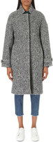Closed Houndstooth-pattern cocoon wool-blend coat
