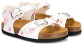 MonnaLisa rose print sandals - kids - Leather/rubber - 33