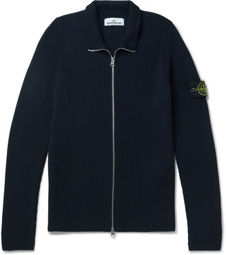 Stone Island Logo-Appliqued Ribbed Wool Zip-Up Cardigan