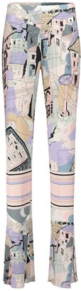 Emilio Pucci Printed high-rise straight jersey pants