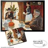 1art1® Set: 1 Door Mat Floor Mat (28x20 inches) + 1 Mouse Pad (9x7 inches) - Paul Signac, Breakfast, The Dining Room, 1886-1887