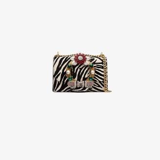 Miu Miu white zebra embellished leather shoulder bag