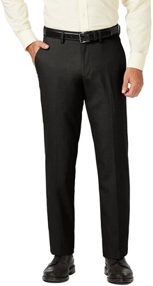"Haggar Sharkskin Stretch Straight Fit Flat Front Dress Pants - 29-34"" Inseam"