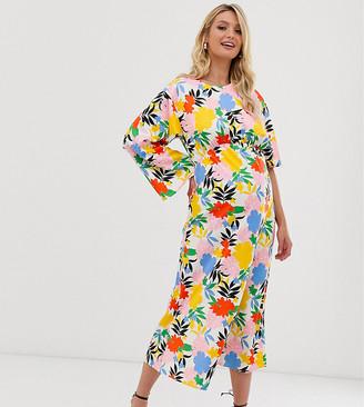 Asos DESIGN Maternity asymmetric sleeve maxi dress in bright floral print