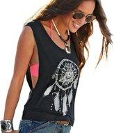 Kinghard® Kinghard Sexy Women Dreamcatcher Printed Sleeveless Tops Crop Tank Vest Shirt (S)
