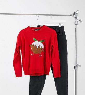Brave Soul Petite christmas pudding jumper