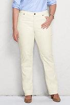 Lands' End Women's Plus Size Mid Rise Straight Leg Corduroy Pants-Vicuna Heather