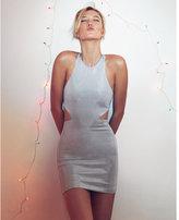Express embellished metallic v-back mini dress