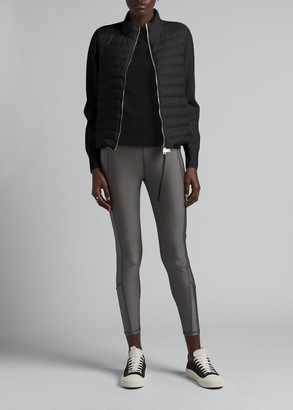 Moncler Zip-Front Down-Knit Combo Sweater