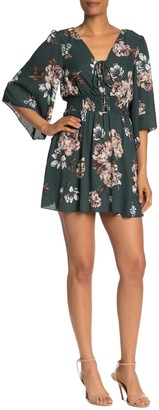 Bailey Blue Lace-Up Smocked Waist Floral Mini Dress